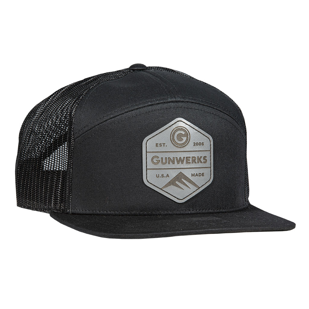 [PD-K1105] Gunwerks Black Hat with Gray Leather Patch
